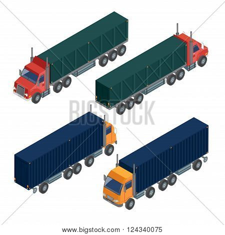 Cargo Transportation. Isometric Truck. Isometric Transportation. Cargo Trailer. Delivery Truck. Logistics Transportation. Mode of Transportation. Cargo Truck. Vector illustration