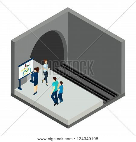 People waiting for underground  train with map and station isometric vector illustration