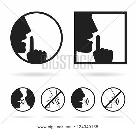 Silence set icon - vector illustration isolated