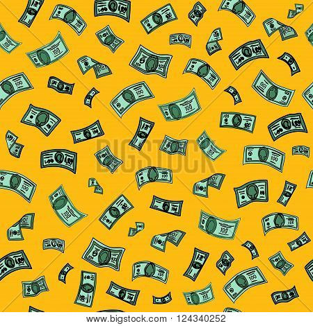 Money Background. Dollar Background. Banknotes Background. Cash Pattern. Seamless Pattern. American Dollars. Vector illustration
