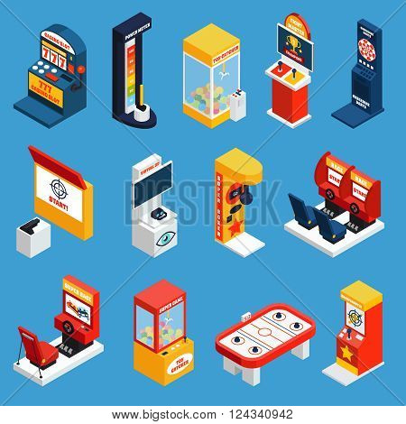 Game machine isometric icons set of slot crane boxing darts karaoke dynamometer machines isolated vector illustration