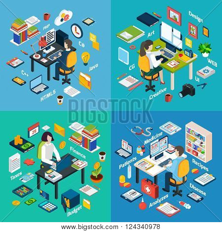 Creative professionals workplaces 4 isometric icons square with computer maintenance programmer web developer abstract vector isolated illustration