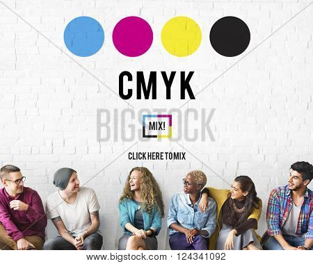 CMYK Cyan Magenta Yellow Key Color Printing Process Concept