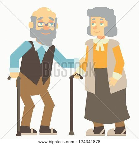 happy elderlys, old woman, grandma, grandmother, old man, grandpa, grandfather, with glasses and vest, with cane, stick, no background