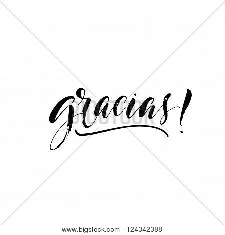 Gracias card. Thank you in spanish. Hand drawn lettering phrase. Ink illustration. Modern brush calligraphy. Isolated on white background.