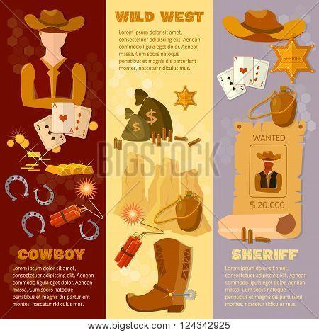 Wild west cowboy sheriff flat style banner