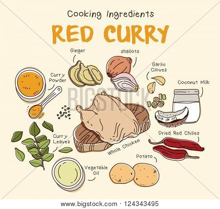 Red curry with chicken ingredients set