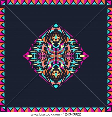 Vector tribal decorative pattern in frame. Aztec ornamental style. Electro boho color trend. Ethnic native American Indian ornaments