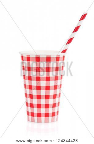 Paper cup with takeaway drink. Isolated on white background
