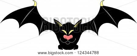 Dangerous bat with yellow eyes vector and illustration
