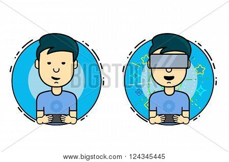 Boy playing on the virtual reality and smartphone. A man with virtual reality headset. Vector flat design illustration.