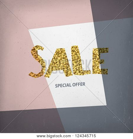Sale Design Template on Aged grunge Background