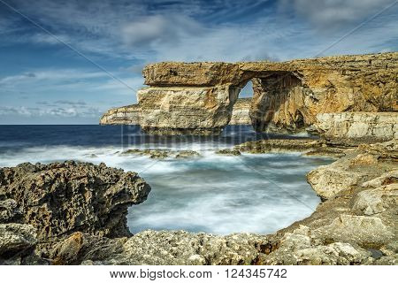 The limestone arch formed Rocky Malta belonging to the island of Gozo.