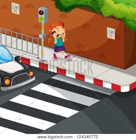 Girl talking on the phone on the road illustration
