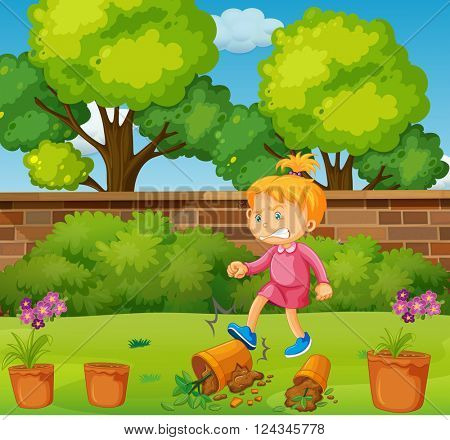 Angry girl kicking potted plants in the garden illustration