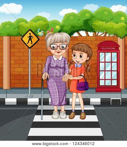 Girl helping grandmother crossing the street illustration