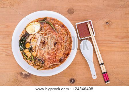 No Frills Asian Prawn Mee Vermicelli Noodles With Spicy Soup