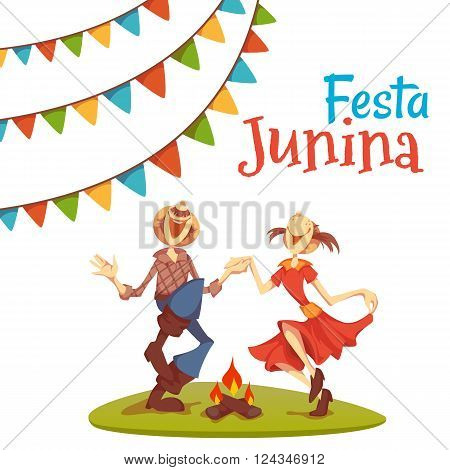 Girl and boy dancing at Brazil june party. Vector illustration.
