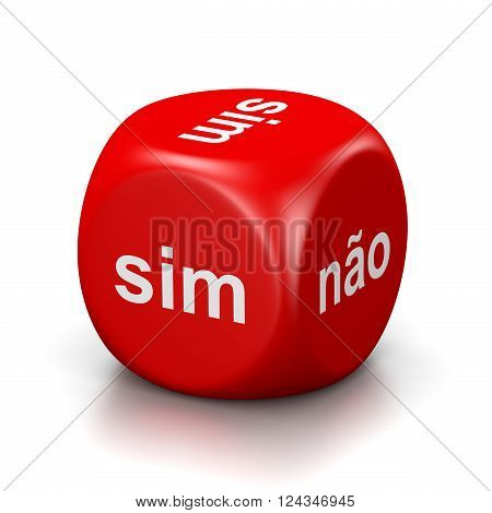 One Single Red Dice with Yes or No Portuguese Text on Faces on White Background 3D Illustration