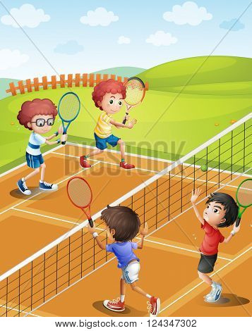 Children playing tennis at the court illustration