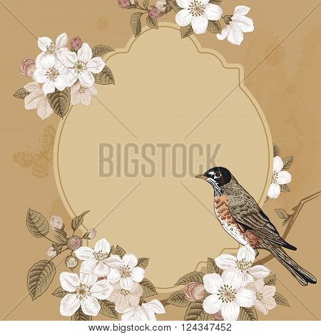 Spring elegant vector vintage card with blossoming apple tree branch and bird. European styled botanical illustration 19th century.