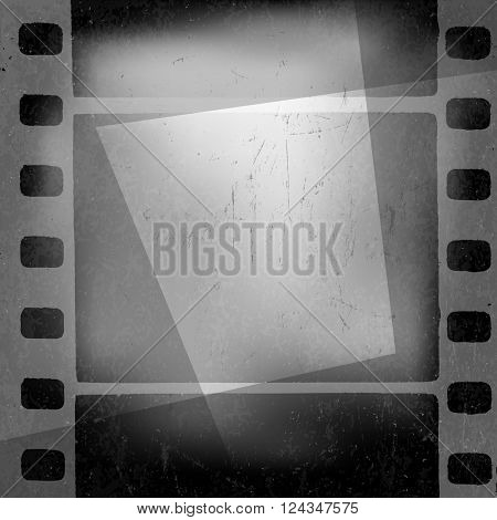 Grunge monochrome filmstrip with space for text . Film noir, old cinema background design template