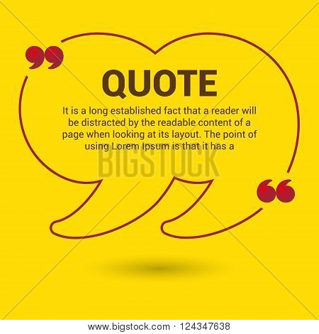 yellow quotation marks. Quotation Bubble. Web banner template.