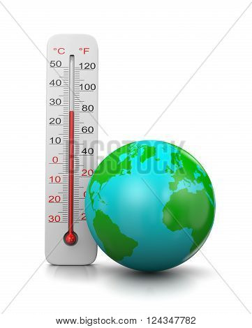 Thermometer Close to the Earth on White Background 3D Illustration, Global Temperature Concept