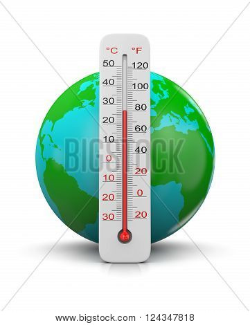 Earth Behind a Thermometer on White Background 3D Illustration, Global Temperature Concept