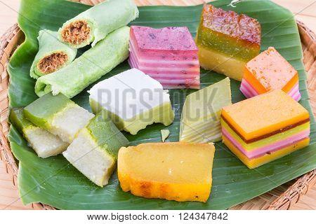 Clsoeup On Malaysia Popular Assorted Sweet Dessert Kuih Kueh