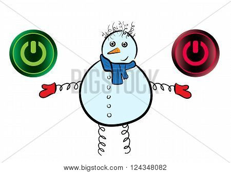 Conceptual snowman with buttons symbols of inclusion and switching off
