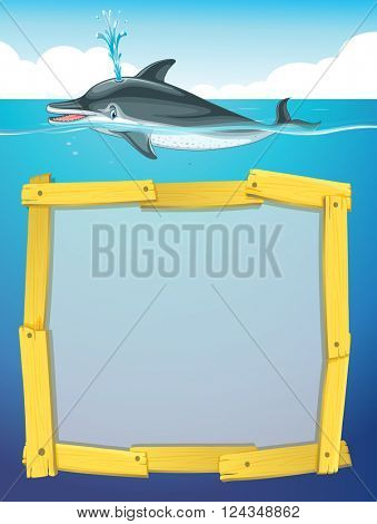 Frame design with dolphin swimming illustration