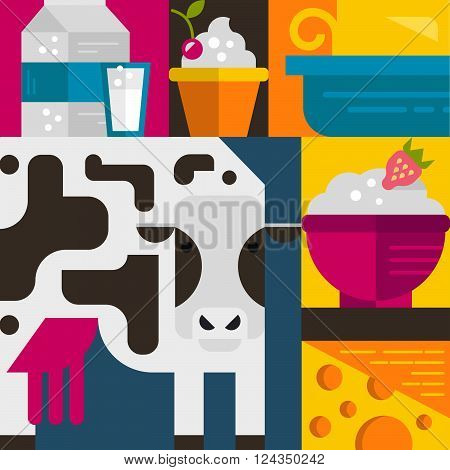 Milk industry flat icons and symbols made in vector including butter cow milk yogurt. Dairy products. Dairy farm elements for banner template.
