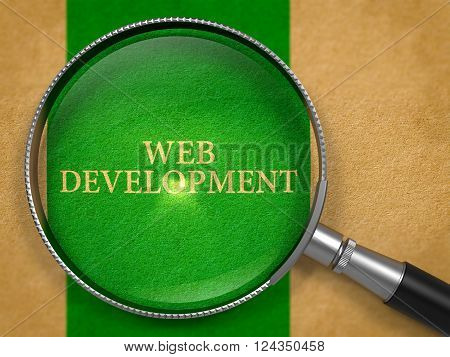Web Development through Magnifying Glass on Old Paper with Green Vertical Line Background. 3D Render.