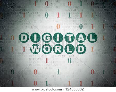 Information concept: Digital World on Digital Paper background