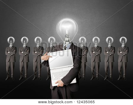 Businessman With Lamp-head Have Got An Idea