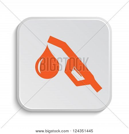 Gasoline pump nozzle icon. Internet button on white background.