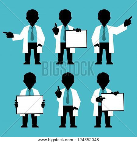 Silhouettes set. Character IT specialist, scientist, doctor, engineer. Set of different poses and gestures paying attention or point to anything. Vector illustration of a man in a white coat. Flat style.