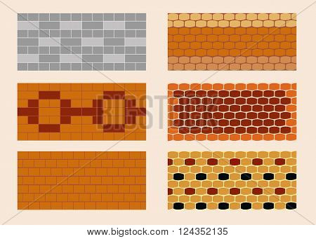 Different color and pattern of the brick laying.  All objects are grouped. Vector.  Horizontal.