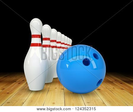 Ball with pins on black background, game concept. 3D illustration