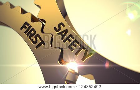 Safety First on the Mechanism of Golden Gears with Glow Effect. Safety First - Illustration with Glowing Light Effect. Golden Cogwheels with Safety First Concept. 3D.