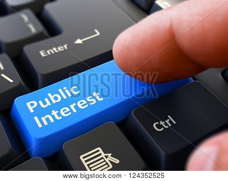 Computer User Presses Blue Button Public Interest on Black Keyboard. Closeup View. Blurred Background. 3D Render.