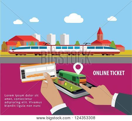 Train tickets app on smartphone screen. Train tickets service. online booking from smartphone