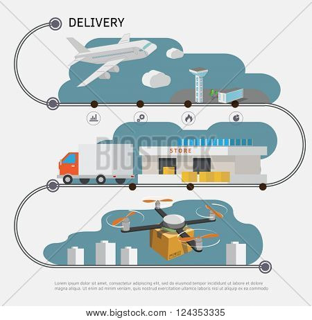 Logistic and delivery concept infographic.  Vector illustration.
