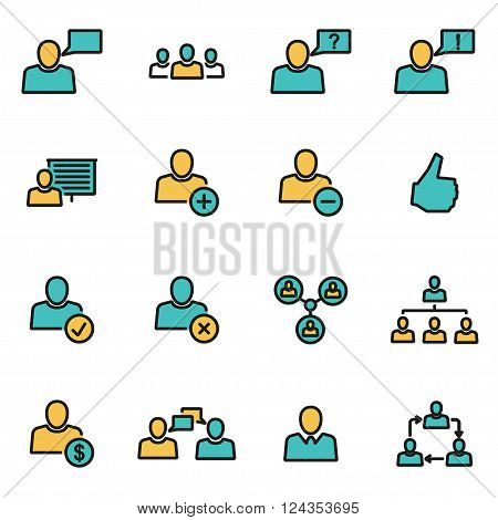 Trendy flat line icon pack for designers and developers. Vector line office people icon set