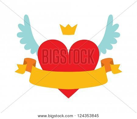 Red heart abstract with crown, wings and yellow ribbon for your text flat vector illustration.