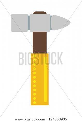 Yellow hammer work tool construction equipment repair hardware industry flat vector illustration.