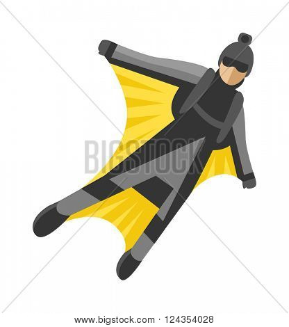 Wingsuit man jumper character skydiving flying parachuting sport high risk air vector illustration.