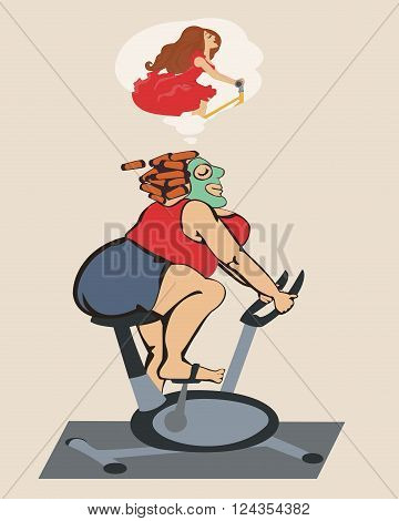 Fat girl engaged on a stationary bike and dreams of a beautiful figure. All objects are grouped. Vector.