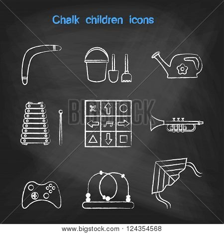 CHALK style icons set. Children's toys collection of vector icons. Outline vector xylophone, pipe, tube, a dance mat, boomerang, a joystick, a maze, a kite, watering can, bucket, shovel, rake